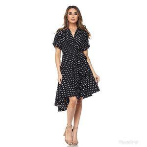 Black Cherille Polka Dot Wrap Dress